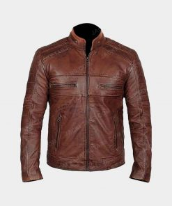 Men Waxed Brown leather Jacket
