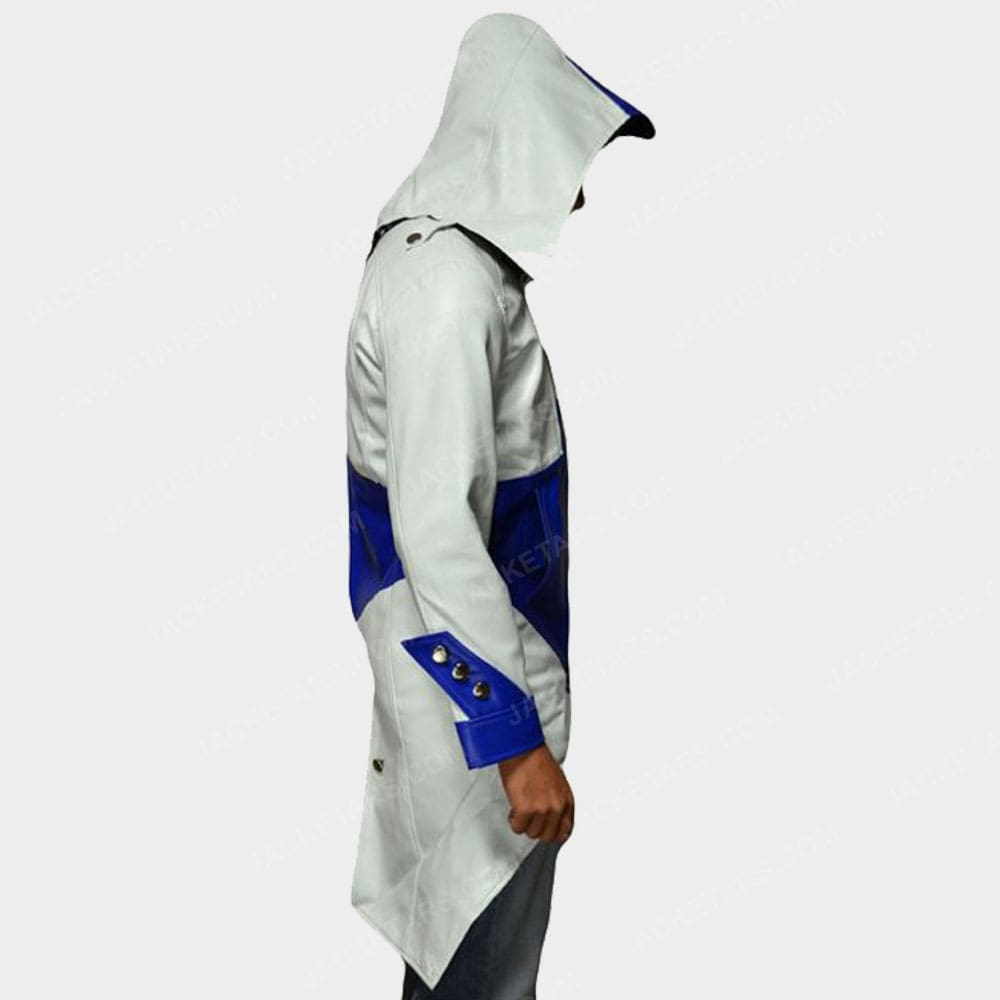 Assassins Creed Hoodie White Leather Jacket Arno White Jacket