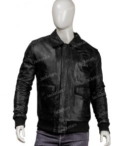 Mens Real Sheepskin Leather Bomber Jacket