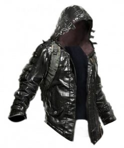 Pubg Black Leather Hoodie Jacket
