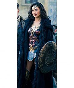 Diana Prince Wonder Woman Black Shearling Coat