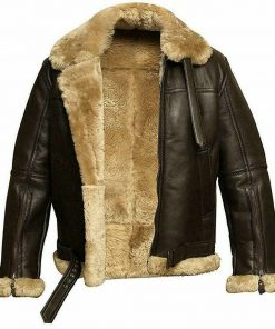 Mens FUR Aviator Flying Pilot Bomber Leather Jacket