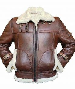 Mens RAF B3 Aviator Shearling Bomber Leather Jacket